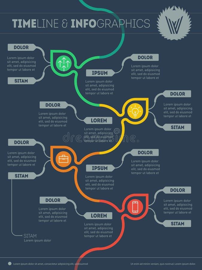Concepto infographic de la ecología con el logotipo Árbol con las hojas y los iconos stock de ilustración