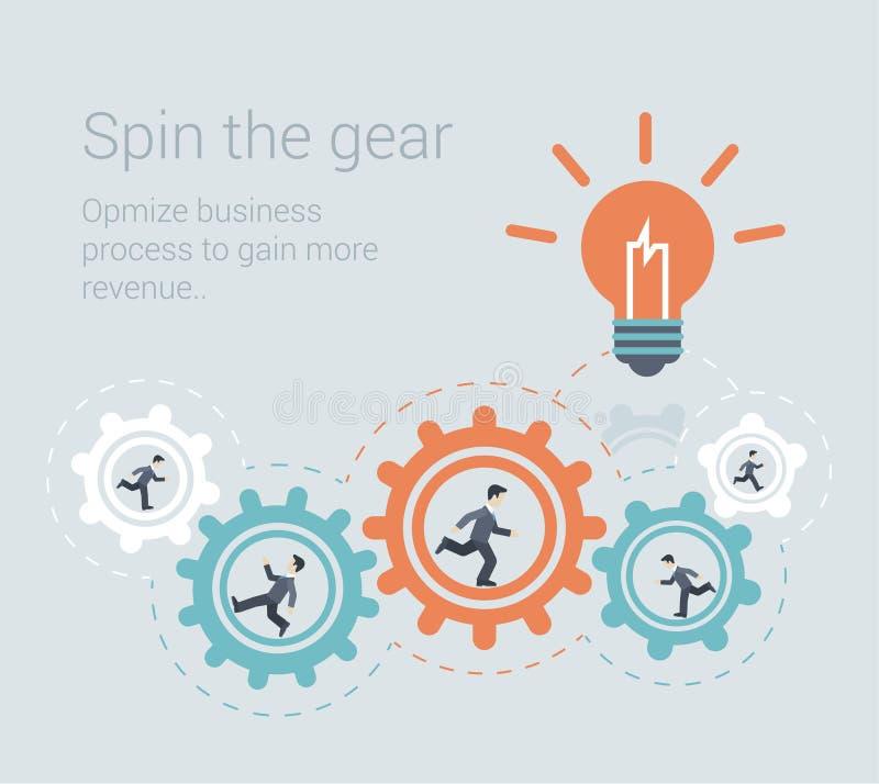 Concepto infographic de la plantilla del trabajo en equipo de proceso moderno plano del estilo stock de ilustración