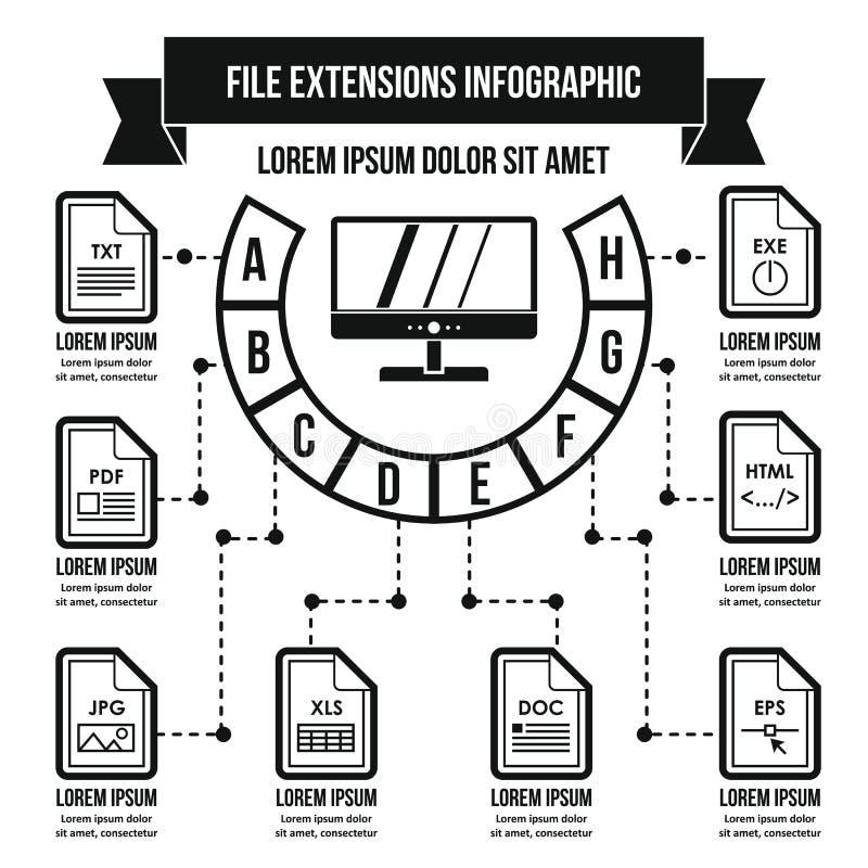 Concepto infographic de las extensiones de archivo, estilo simple libre illustration