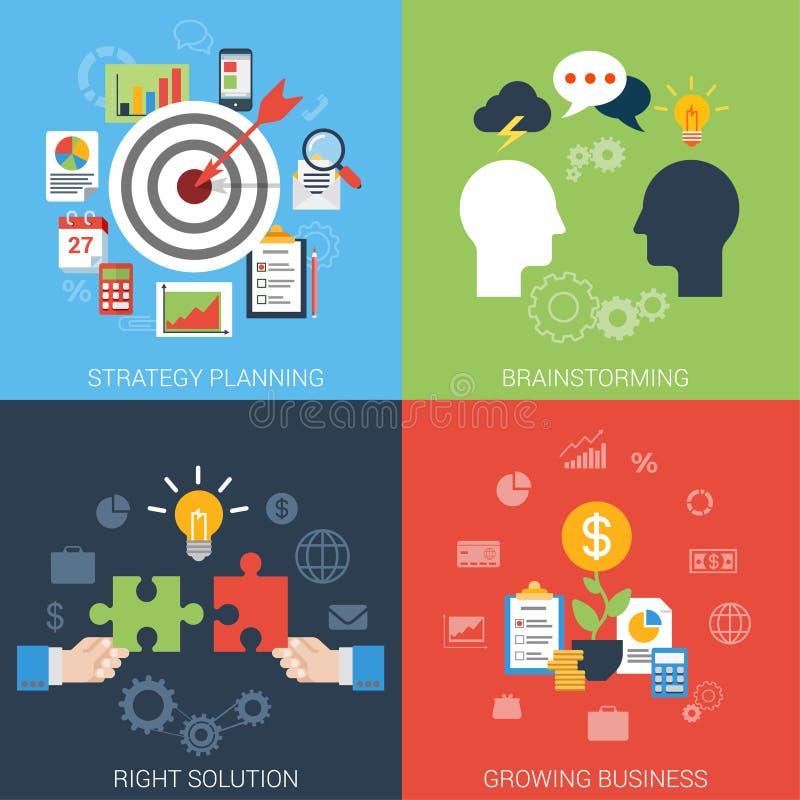 Concepto infographic del estilo del éxito empresarial de la blanco plana de la estrategia libre illustration