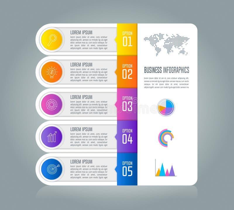 Concepto infographic del negocio de la cronología con 5 opciones stock de ilustración