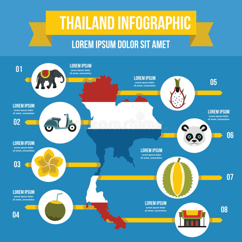 Concepto infographic del viaje de Tailandia, estilo plano stock de ilustración
