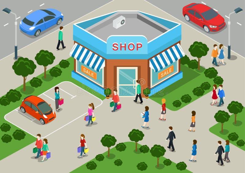 Concepto infographic isométrico de la tienda del edificio comercial de la calle del web plano local 3d de la venta stock de ilustración