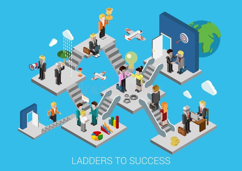 Concepto infographic isométrico plano 3d de los succes del comienzo del negocio stock de ilustración