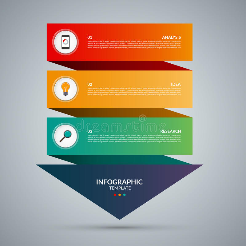 concepto infographic Plantilla del vector con 3 pasos stock de ilustración