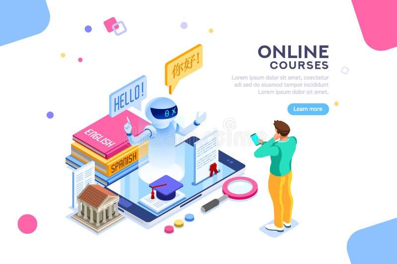 Concepto inglés del curso del aprendizaje electrónico de la lengua de la escuela stock de ilustración