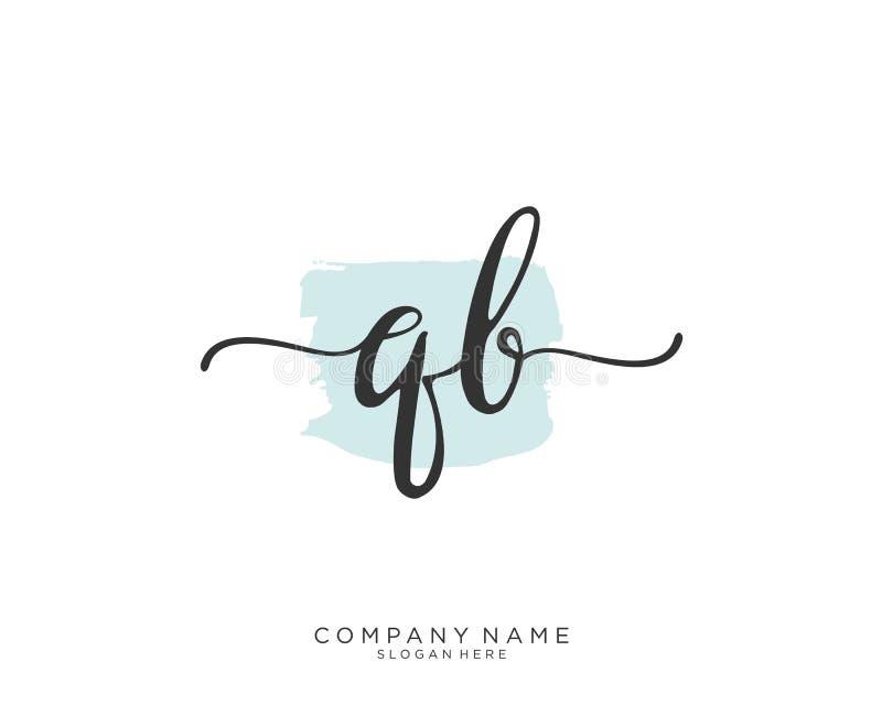 Concepto inicial del logotipo de la escritura de QB ilustración del vector