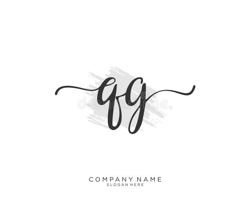 Concepto inicial del logotipo de la escritura de QG stock de ilustración