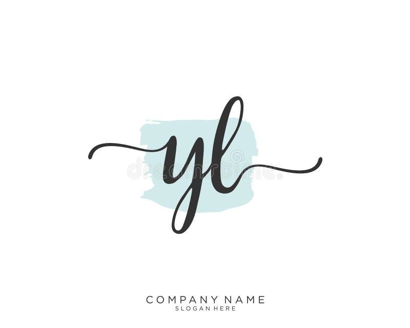 Concepto inicial del logotipo de la escritura de YL stock de ilustración