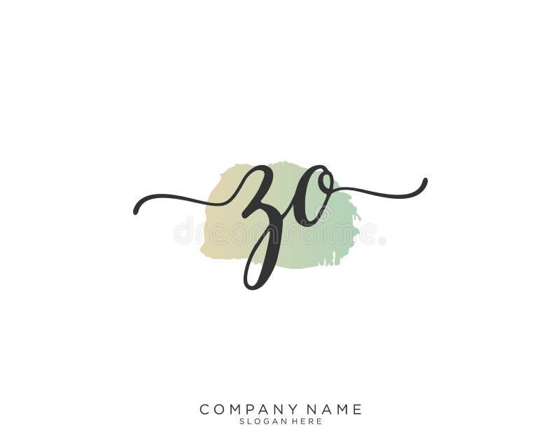 Concepto inicial del logotipo de la escritura de ZO fotografía de archivo libre de regalías