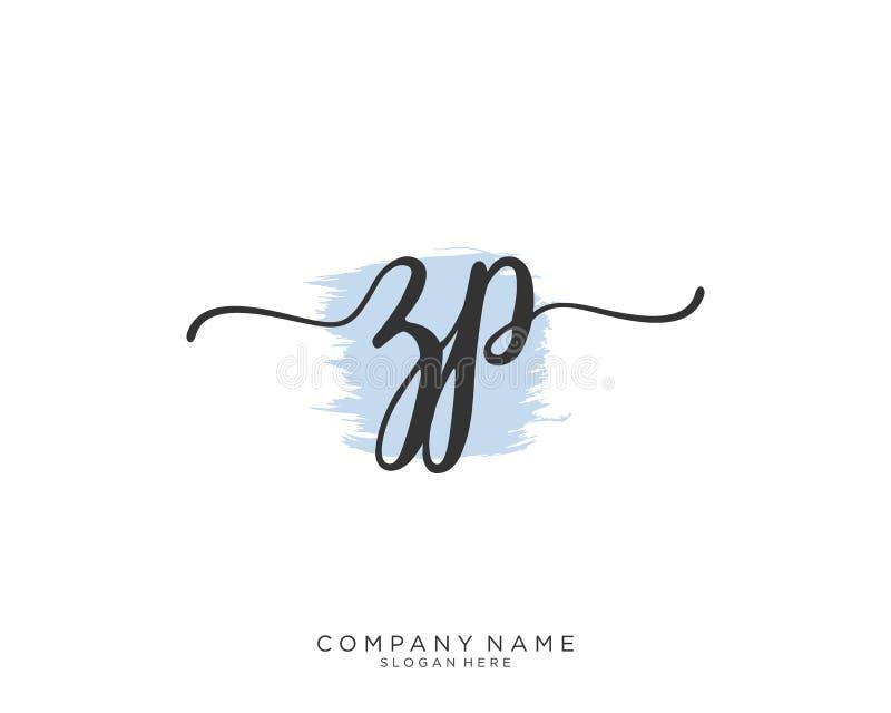 Concepto inicial del logotipo de la escritura de ZP foto de archivo
