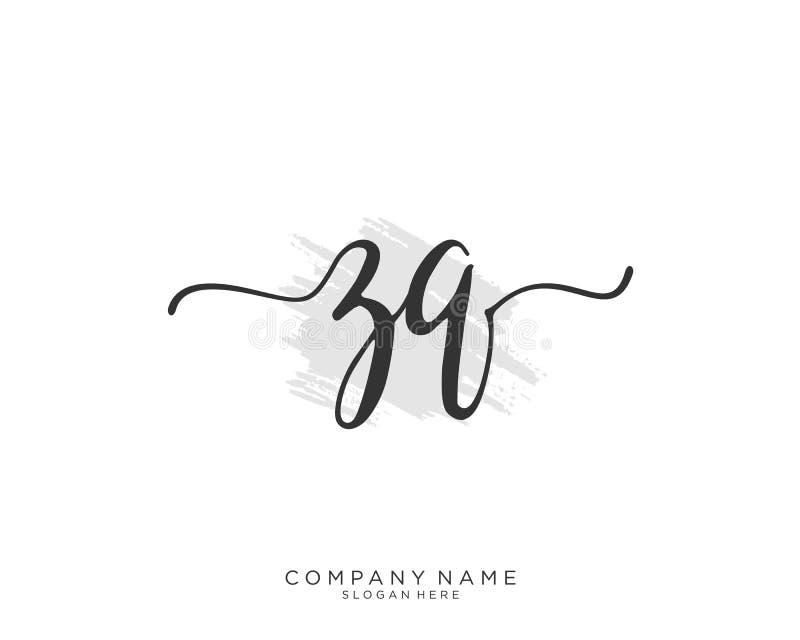 Concepto inicial del logotipo de la escritura de ZQ imagen de archivo libre de regalías