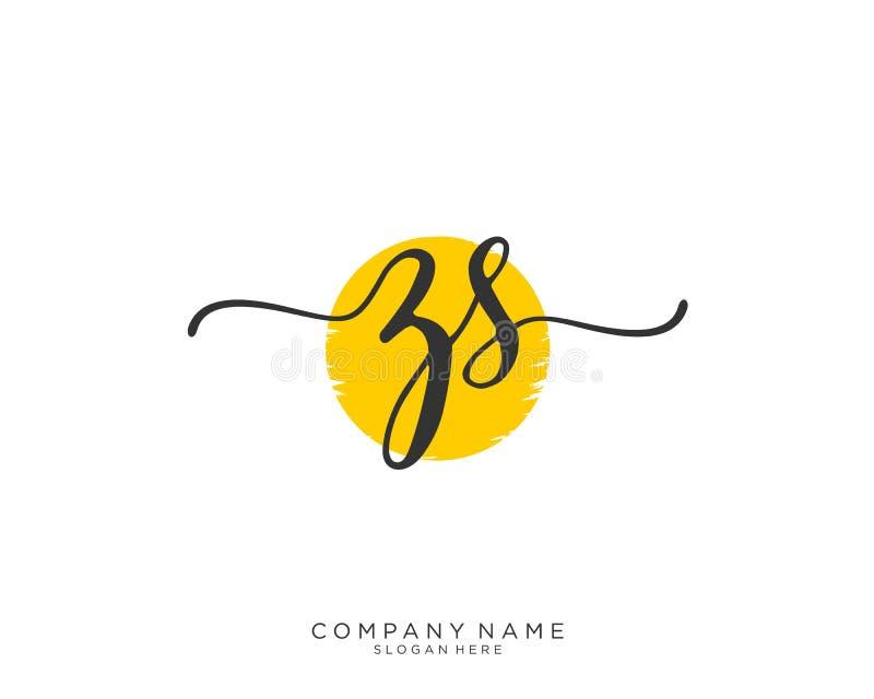 Concepto inicial del logotipo de la escritura de ZS ilustración del vector
