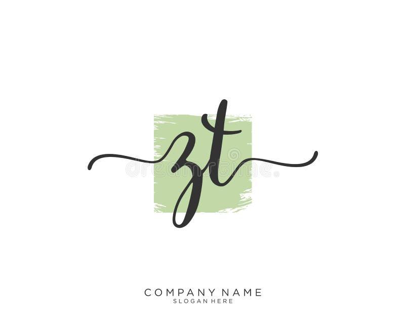 Concepto inicial del logotipo de la escritura de ZT foto de archivo libre de regalías