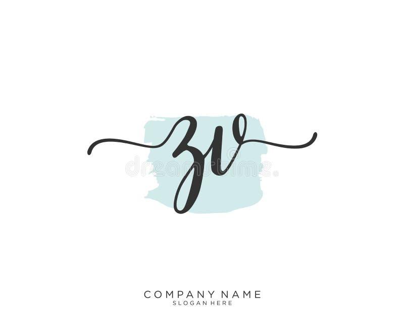 Concepto inicial del logotipo de la escritura de ZV imagenes de archivo