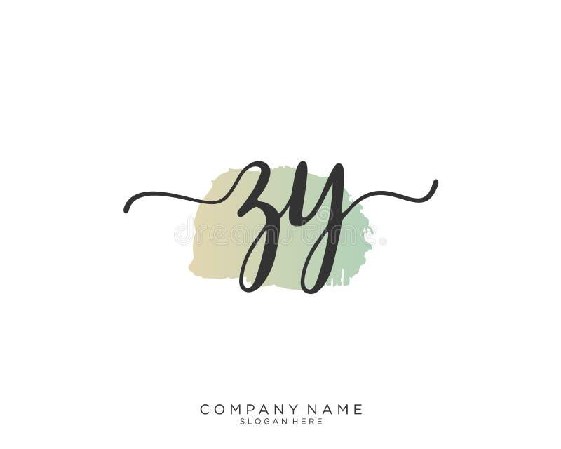 Concepto inicial del logotipo de la escritura de ZY fotografía de archivo libre de regalías