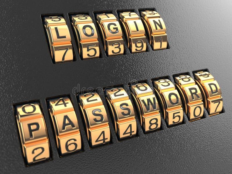Concepto, inicio de sesión y contraseña de la seguridad de Internet. stock de ilustración