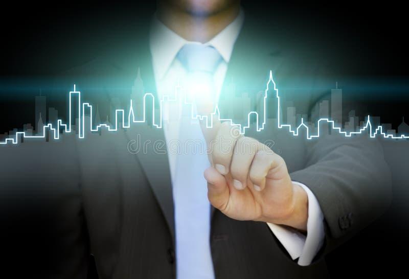 Concepto inmobiliario del hombre de negocios stock de ilustración
