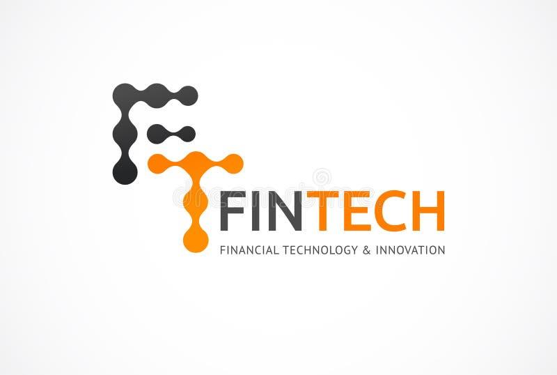 Concepto innovador del logotipo para el fintech y la industria digital de las finanzas ilustración del vector