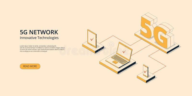 concepto innovador inalámbrico de la tecnología de Internet móvil 5g libre illustration