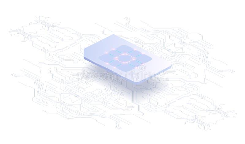 Concepto integrado bandera abstracta de SIM Nuevas tecnología de comunicación móvil y placa de circuito del fondo del procesador stock de ilustración