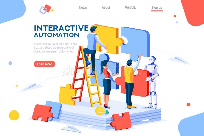 Concepto interactivo de la interacci?n humana de la automatizaci?n stock de ilustración