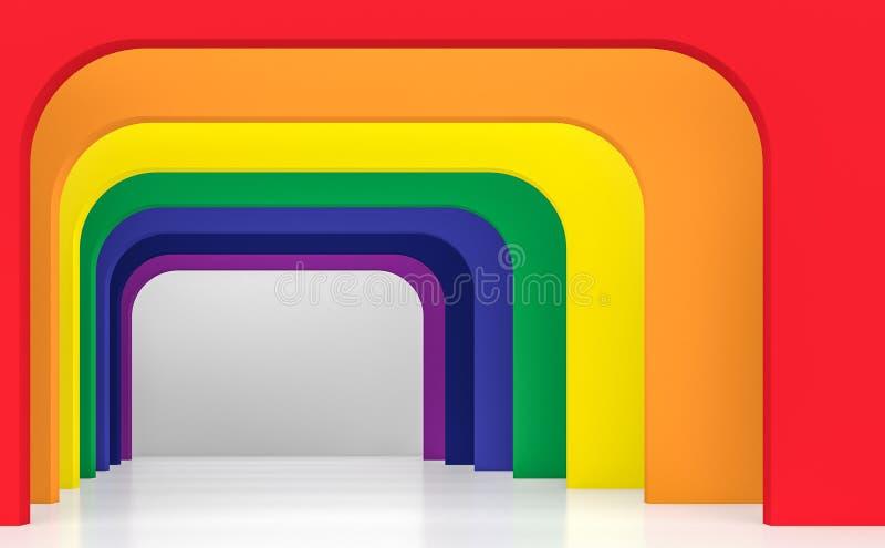 Concepto interior 3d del espacio del arco iris rendir libre illustration