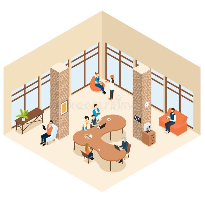 Concepto interior de centro isométrico de Coworking libre illustration