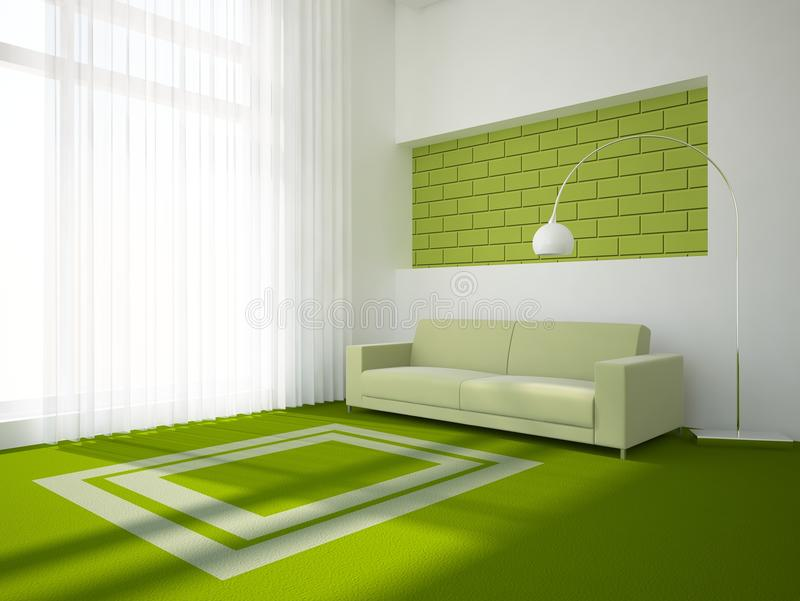 Concepto interior verde stock de ilustración
