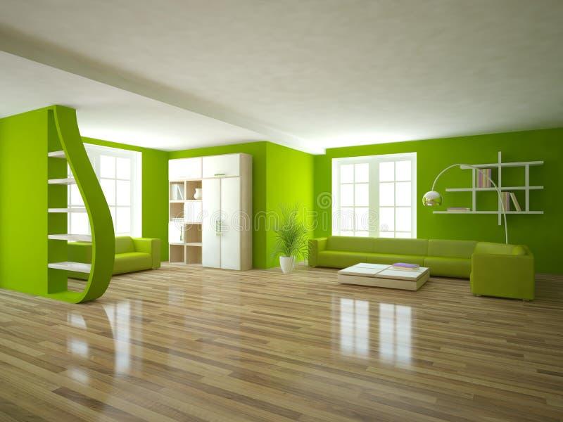Concepto interior verde para la sala de estar ilustración del vector