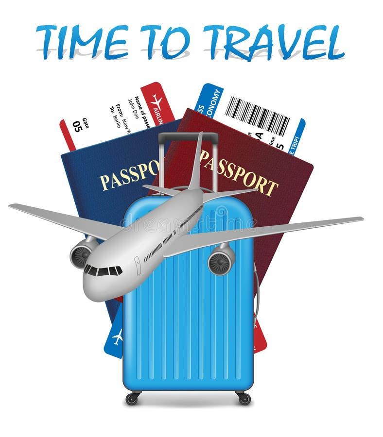 Concepto internacional de las vacaciones del transporte aéreo Bandera del viaje de negocios con los billetes de avión, el aeropla libre illustration