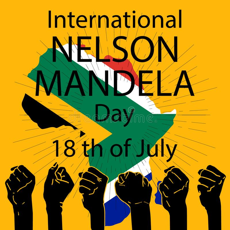 Concepto internacional de Nelson Mandela Day stock de ilustración
