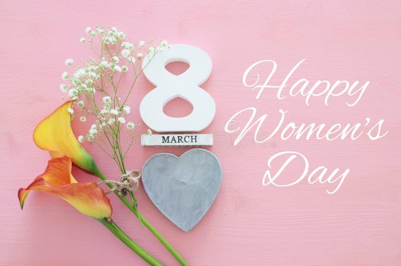 Concepto internacional del día de las mujeres Imagen de la visión superior fotografía de archivo libre de regalías