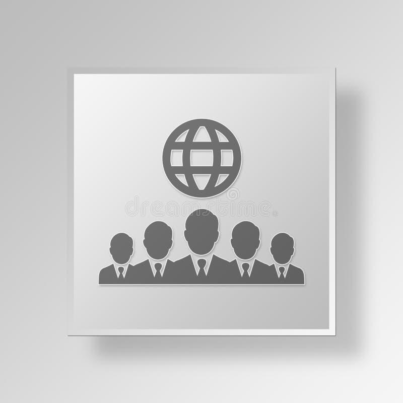 concepto internacional del icono del botón de los hombres de negocios 3D libre illustration