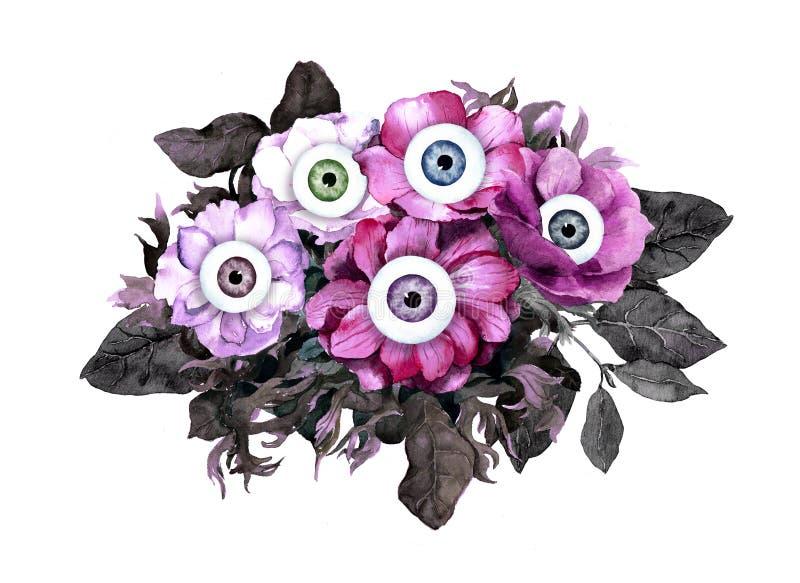 Concepto inusual de Halloween - rosado, flores negras con los ojos watercolor fotografía de archivo