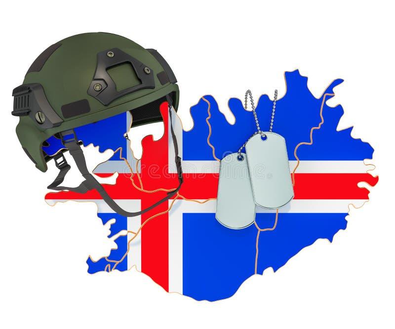 Concepto islandés de la fuerza militar, del ejército o de la guerra representaci?n 3d stock de ilustración