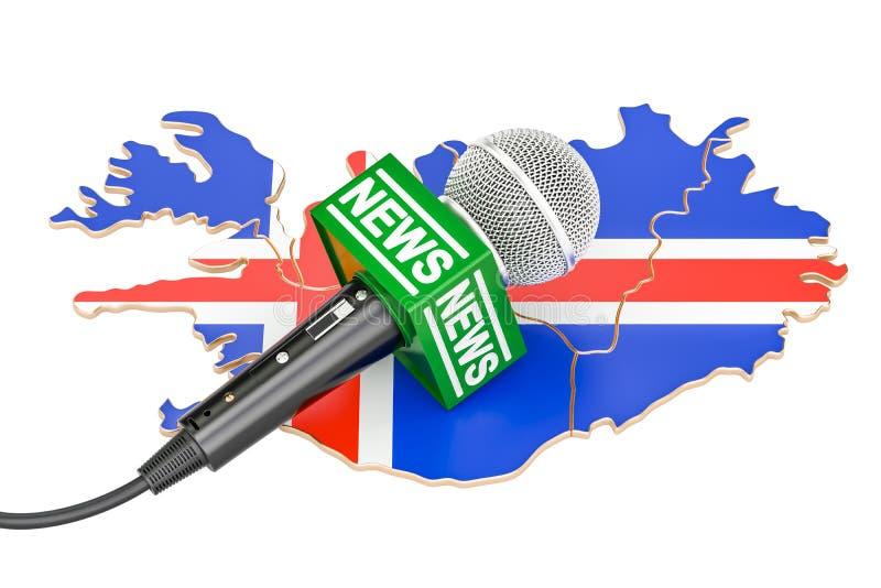 Concepto islandés de las noticias, noticias del micrófono en el mapa representación 3d ilustración del vector
