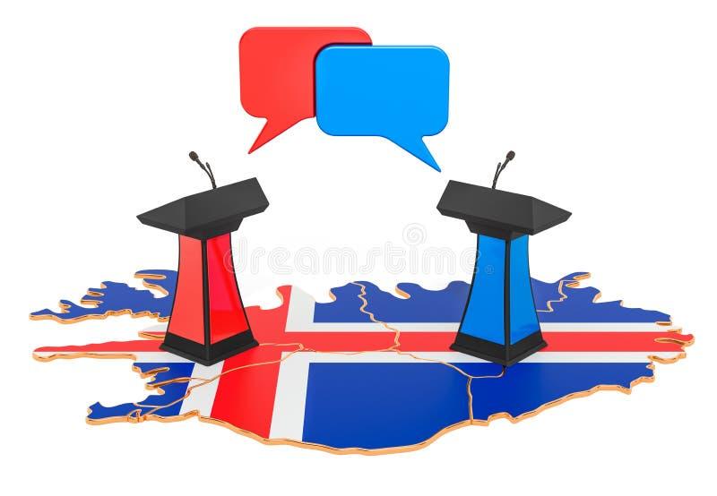 Concepto islandés del discusión, representación 3D libre illustration