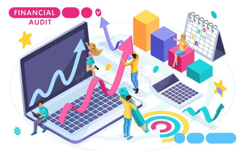 Concepto isométrico de auditoría, contabilidad, auditoría financiera Análisis de datos Gente en el movimiento Conceptos para las  libre illustration