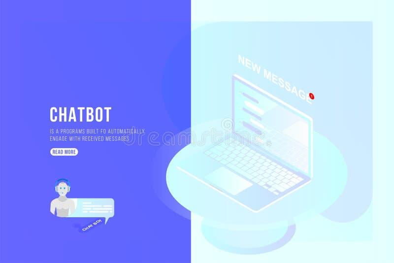 Concepto isométrico de Chatbot con los nuevos mensajes y charla móvil en el ordenador portátil 3d ejemplo isométrico plano EPS10 stock de ilustración