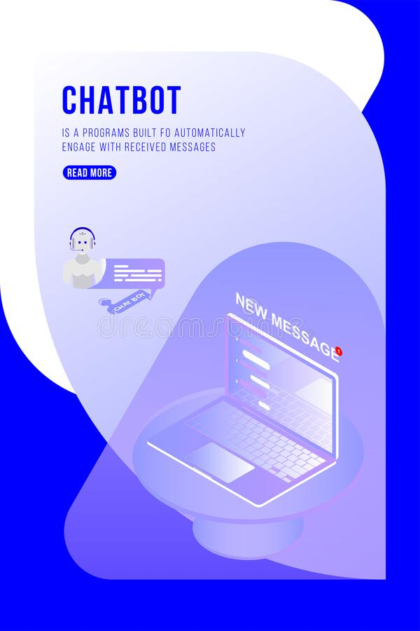 Concepto isométrico de Chatbot con los nuevos mensajes y charla móvil en el ordenador portátil 3d ejemplo isométrico plano EPS10 ilustración del vector