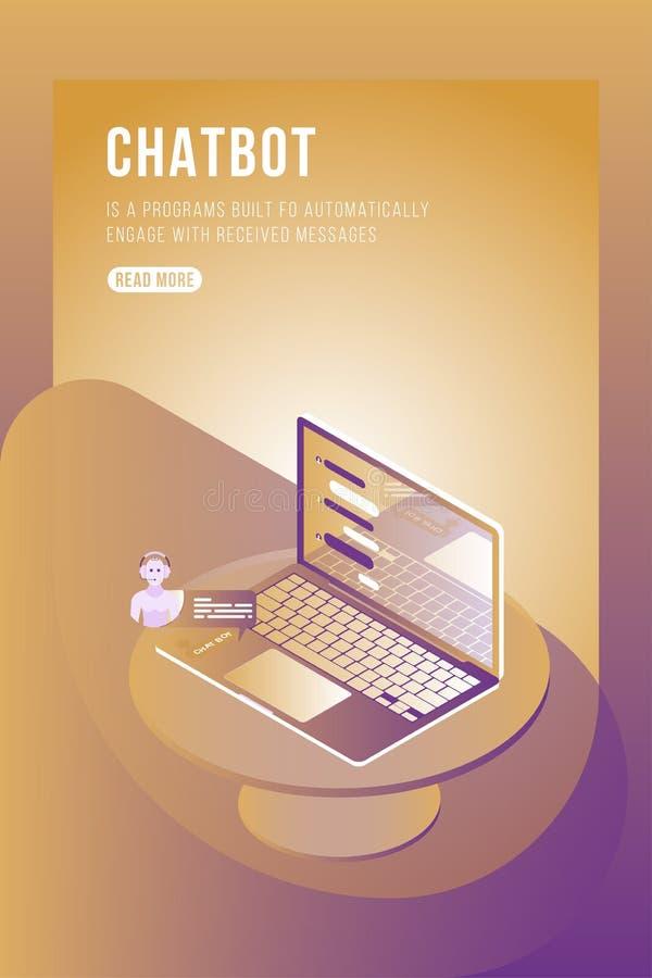 Concepto isométrico de Chatbot con los nuevos mensajes y charla móvil en el ordenador portátil 3d ejemplo isométrico plano EPS10 libre illustration