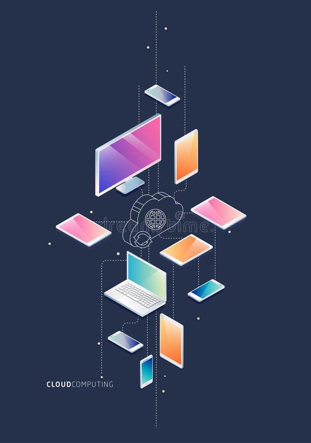 Concepto isométrico de computación de la nube libre illustration