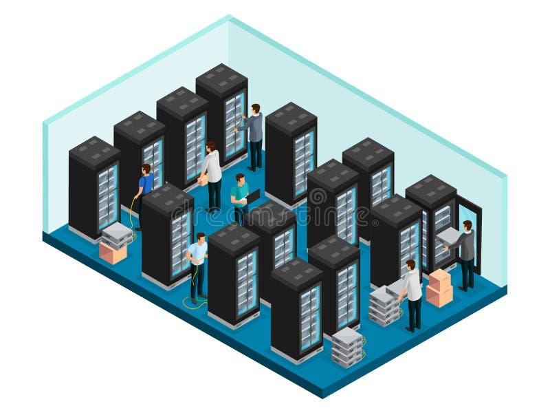 Concepto isométrico de Datacenter ilustración del vector