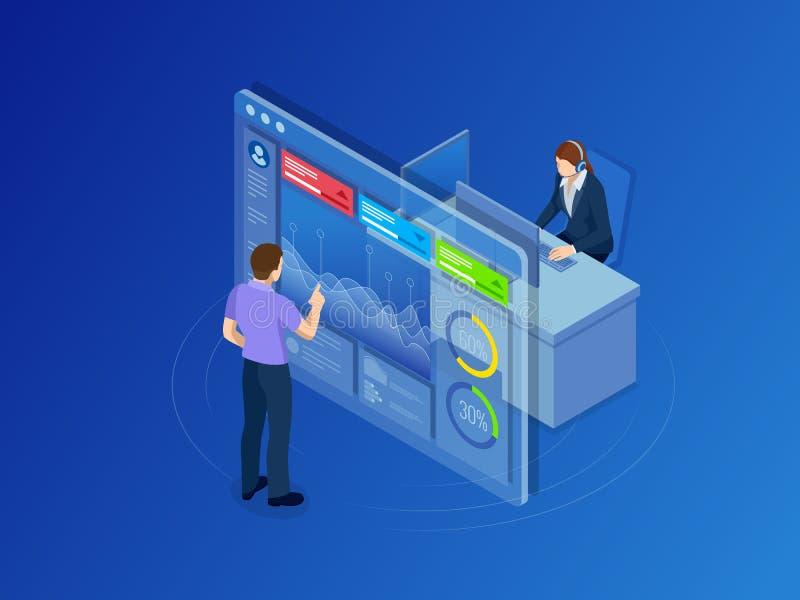 Concepto isométrico de dirección de la red de datos Businessmans en sitio del centro de datos Servidor y base de datos informatiz libre illustration