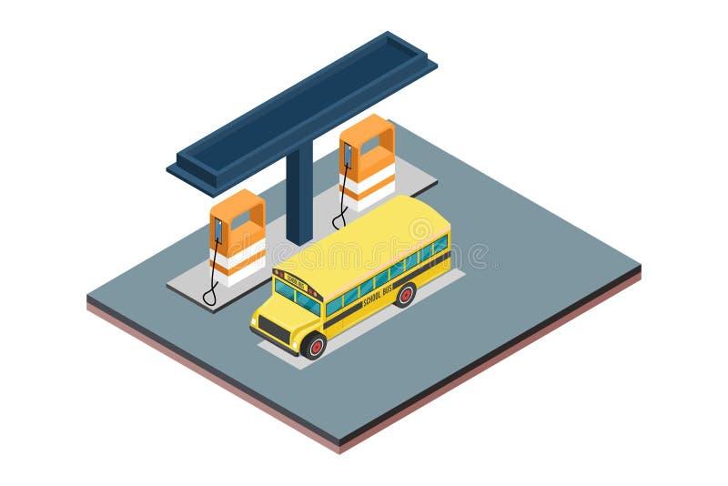Concepto isométrico de estación de servicio blanca aislada del gas del fondo - ejemplo del vector stock de ilustración