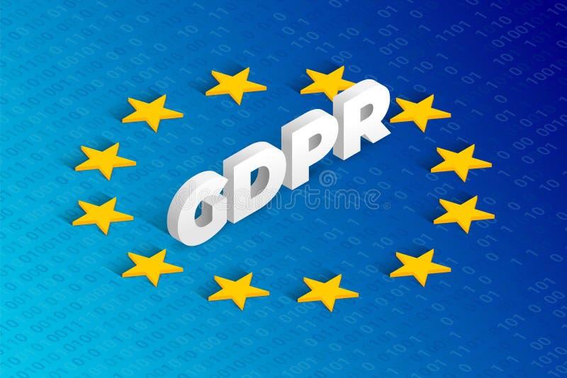 Concepto isométrico de GDPR libre illustration