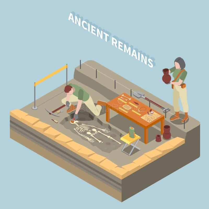 Concepto isométrico de la arqueología stock de ilustración