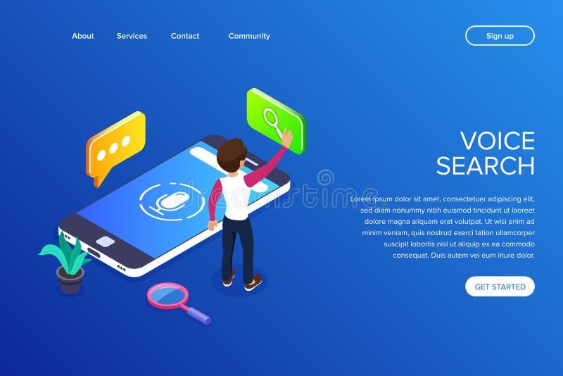 Concepto isométrico de la búsqueda de la voz búsqueda para la información usando voz Controles por voz o ayudante de la voz en un stock de ilustración