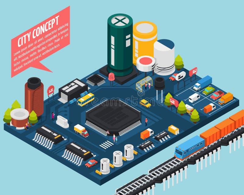 Concepto isométrico de la ciudad de los componentes electrónicos del semiconductor ilustración del vector